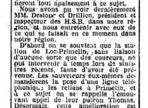 Ouest Eclair de Avril 1926 - Telephone au loch