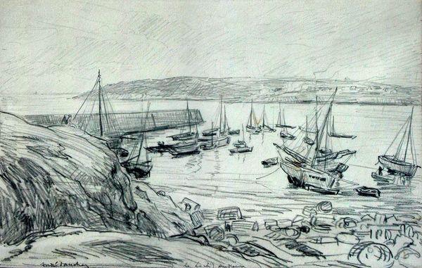 Aquarelle du port du Loch Primelin 1920-30 de André DAUCHEZ