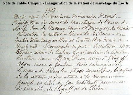Note de l'abbé Claquin - Inauguration de la station de primelin 1907