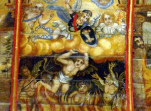 « Sur les lambris de la chapelle Saint-Michel du Port-Rhu en Douarnenez, la figure verdâtre du diable est omniprésente. Ici, l'ange gardien protégeant un enfant du démon. » -© Paul Cornec