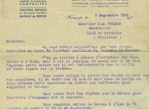 Courrier des chantiers navals de Normandie a Jean Marie Thomas en sep 1936